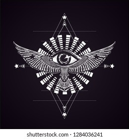 Black and white illustration. Sketch print for t shirt and tatto art. Boho chic. Hypnotism swirl and wings with all seeing eye. Ansient greese symbol of power. Hand drawn fling bird. Sacred geometry