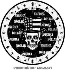 Black and white illustration of a skull in top hat with american flag