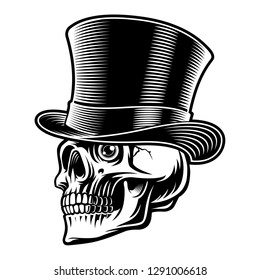 Black and white illustration of a skull in top hat, isolated on the white background.