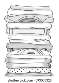 Black and White Illustration of a Stack of Folded Clothes
