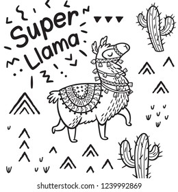 Black and white illustration. Super llama print with llama, cacti and mountain in countour