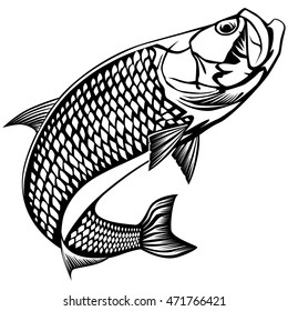Black and white illustration of tarpon. Vector illustration can be used for web design, cards, logos and other design.