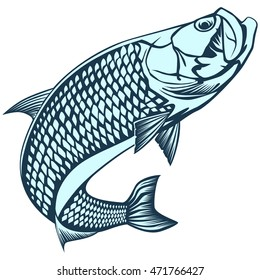 Black and white illustration of tarpon. Vector illustration can be used for web design, cards, logos and other design