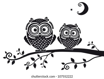 black and white illustration vintage owl fairy tale