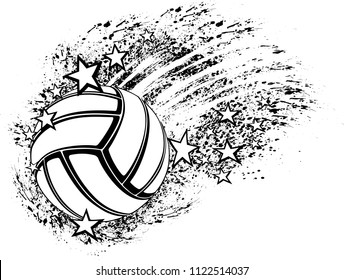 Black and white illustration of a volleyball flying through grunge splatter and stars.
