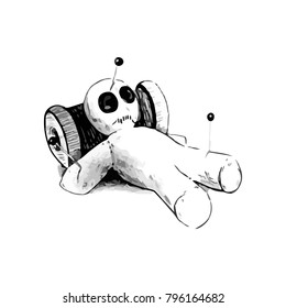 Black and white illustration of a voodoo doll laying on a spool of thread.