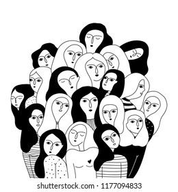 Black and white illustration with women's faces. International Women's Day. Feminism. Volunteering. Friendship day.  Vector templates for card, poster and flyer.