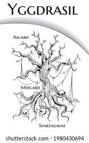 black and white illustration of Yggdrasil world tree from scandinavian mythology