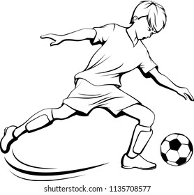 Black and white illustration of a young boy kicking a soccer ball.