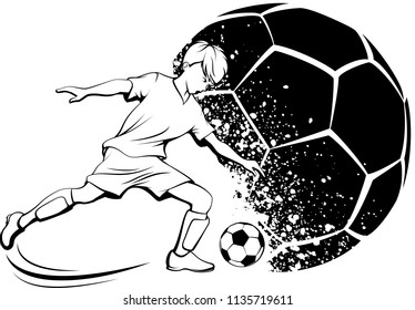 Black and white illustration of a young boy kicking a soccer ball with a grunge splatter soccer ball in the background.
