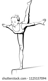 Black and white illustration of a young girl gymnast performing a move on the balance beam.