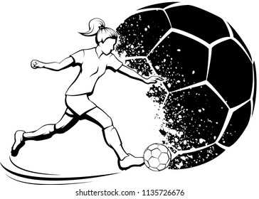 Black and white illustration of a young girl kicking a soccer ball with a grunge splatter soccer ball in the background.