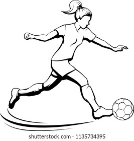Black and white illustration of a young girl kicking a soccer ball.