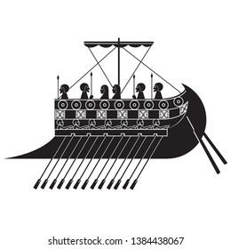 black and white image of an ancient Phoenician ship. vector illustration. EPS 8.