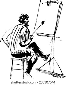 Black and white image of the artist's easel