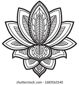 Black and white image of a lotus flower, ethical drawing.
