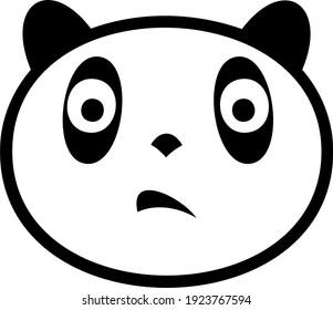 Black and white image of panda facial expression