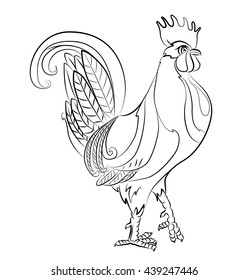 Black and white image of a rooster - suitable for a child's coloring, and not only