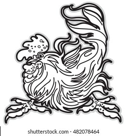 Black and White Image of Rooster. A Symbol of Eastern Calendar. Vector Illustration.