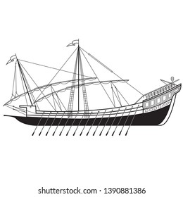 black and white image of the Venetian galley. vector illustration. EPS 8.