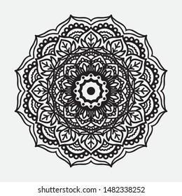 Black and white indian mandala - ornament pattern