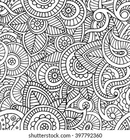 black and white indian paisley doodle hand drawn seamless pattern, boho floral design