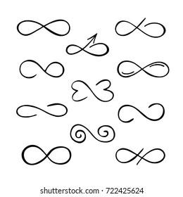 Black and white infinity symbols. Vector illustration.