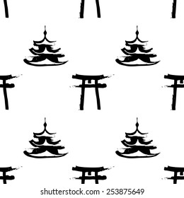 Black and white ink hand drawn brushstroke pagoda and torii. Set of isolated japanese national symbols and elements. Chess grid order pattern.