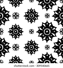 Black and white Islamic chamomile and cross seamless pattern. Contrast ornament with isolated traditional oriental geometric floral elements.