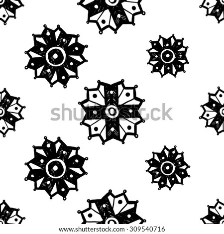 black and white islamic chamomile and cross seamless pattern contrast ornament with isolated traditional oriental