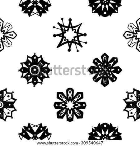 black and white islamic daisy chamomile rosette snowflake flower cross