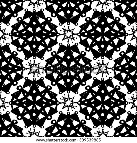 black and white islamic rose and star seamless pattern contrast ornament with isolated traditional oriental