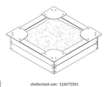 Black and white isometric vector outline drawing of a wooden children's sandbox with bumps, sitting on the corners and a bunch of sand