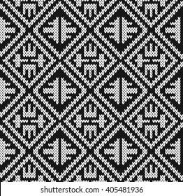 Black and white jacquard Design Seamless Knitting Pattern