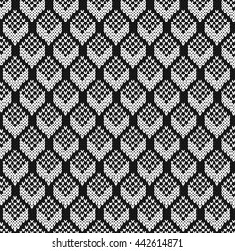 Black and white jacquard. Seamless Knitting Pattern