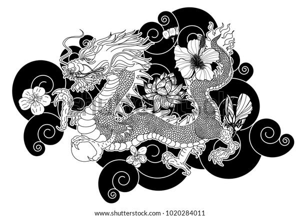 Black White Japanese Dragon Wallpaper Backgroundchinese