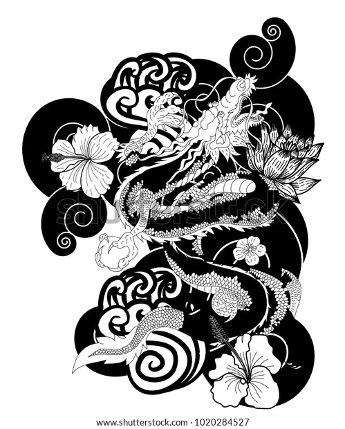 Black White Japanese Dragon Wallpaper Tattoochinese Stock
