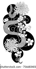 black and white Japanese snake cobra with chrysanthemum flower design. doodle and coloring book snake with cloud isolate on white background for tattoo style.