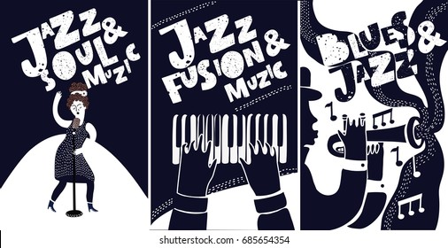 Black and white jazz festival musicians singers and musical instruments poster set isolated vector illustration