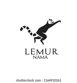 black white jump lemur logo icon designs