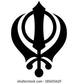 Black and white Khanda symbol vector illustration.