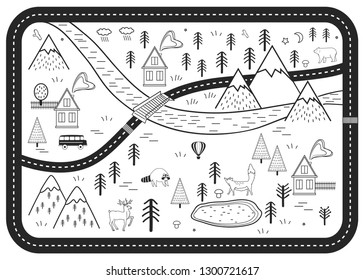 Black and White Kids Road Play Mat. Vector River, Mountains and Woods Adventure Map with Houses and Animals. Scandinavian Style Art Print