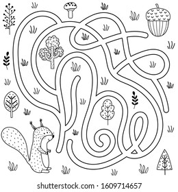 Black and white labyrinth game for kids. Help the squirrel find the way to the nut. Printable maze activity for children. Vector illustration