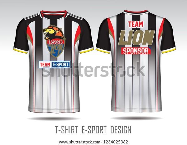 Black White Layout Esport Tshirt Design Stock Vector