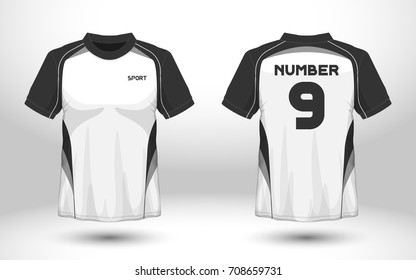 Black and white layout football sport t-shirt design. Template front, back view. Soccer kit national team shirt mock up. Vector Illustration.