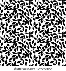 Black and White Leaf Seamless Pattern Vector