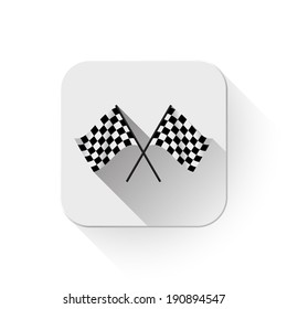 Black and white leather flags football (soccer) or racing flags With long shadow over app button