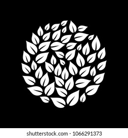 Black and white leaves circle somposition, vector illustration