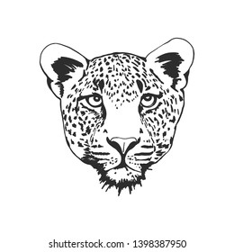 Black and white leopard head vector illustration.