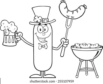 dog st patricks day stock vectors images vector art shutterstock BBQ Hens black and white leprechaun sausage cartoon character holding a beer and weenie next to bbq